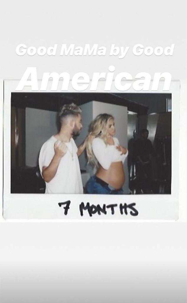 Khloe Kardashian, Pregnant, Baby Bump, Good American Jeans