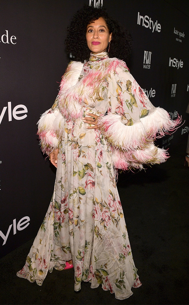 Flowy Florals -  Tracee Ellis Ross in this two-toned couture Giambattista Valli high-cuff dress at the 2018 InStyle Awards gives us life!