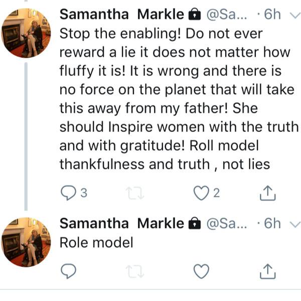 Samantha Markle, Meghan Markle, Tweets