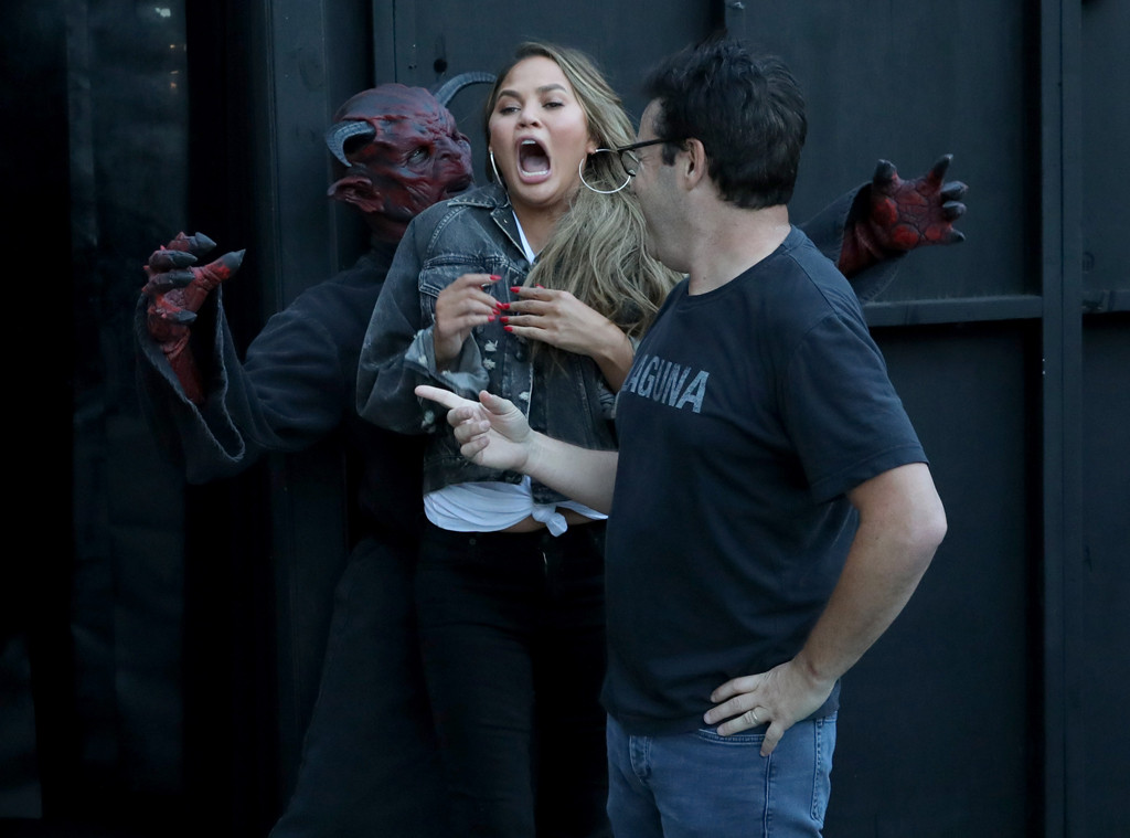 Chrissy Teigen Shrieking Her Way Through A Haunted House Will Make