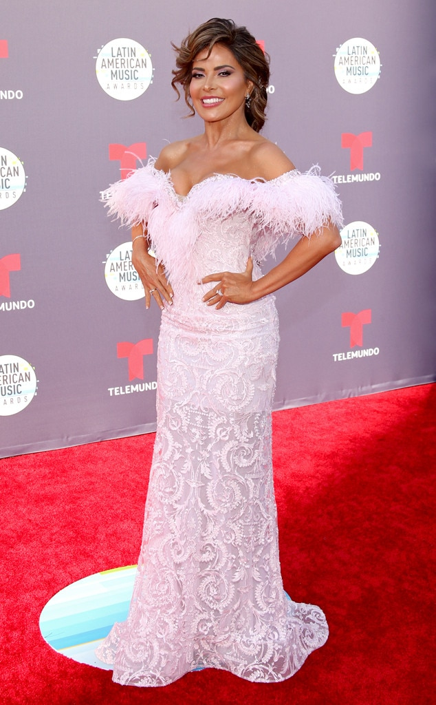Gloria Trevi -  The Mexican-born celebrity ups the glam factor in a feathered pink gown.