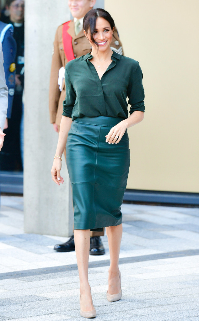 Dark Red Top Outfit >> Meghan Markle's Leather Skirt and $100 Top Are the Fall Staples Every Boss Needs | E! News Canada