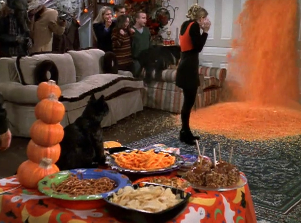 "Sabrina the Teenage Witch , ""A River of Candy Corn Runs Through It"" -  The sitcom version of Sabrina Spellman had some great Halloween episodes and some great goofy-spooky episodes in general, but season 2's Halloween party is one of the best/silliest. Sabrina finds herself forced into having a mortal party at her very magical house, and ends up with talking furniture, anthropomorphic termites, a troupe of demon carolers from the other realm, and a living room full of talking furniture."