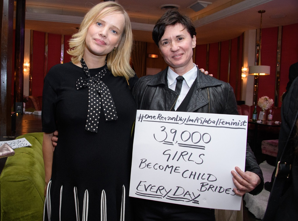 "Joanna Kulig & Kim Peirce -  Polish actress  Joanna Kulig  and  Kim Peirce , who directed  Boys Don't Cry  made a statement in their photo when they held a poster that read: ""One reason why I am a global feminist... 39,000 become child brides every day."""