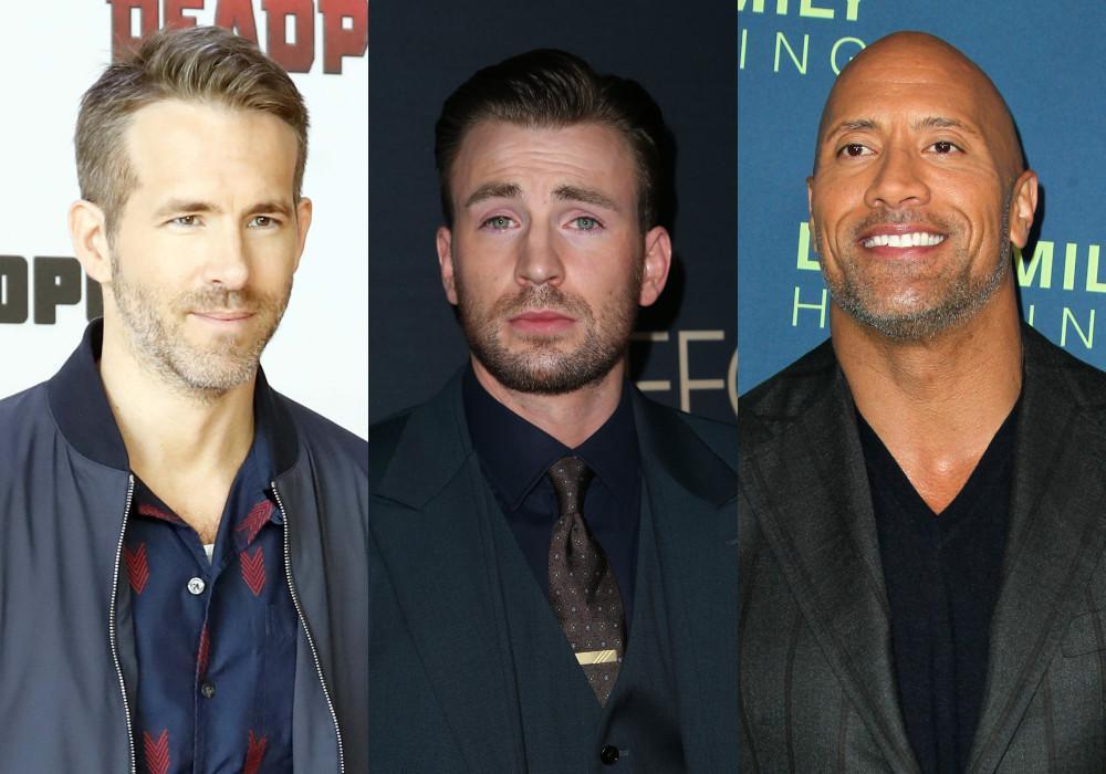 Ryan Reynolds, Chris Evans, Dwayne Johnson