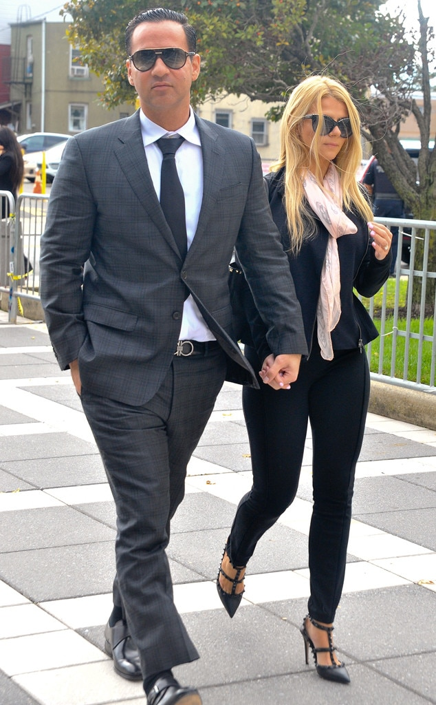 "The big day -  Mike ""The Situation"" Sorrentino arrives at court in Newark, N.J. with his wife Lauren Sorrentino (then Lauren Pesce) for his sentencing. He was sentenced to eight months in prison, which he is serving at the Federal Correctional Institution in Otisville, N.Y.  ""We are very happy to put this behind us,"" he wrote on Instagram."