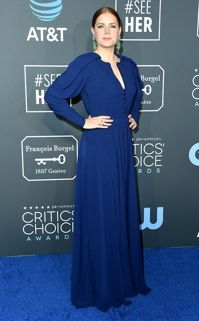 2019 Critics' Choice Awards -  The  Arrival  star proved she knows how to make an entrance while donning a cobalt blue gown.