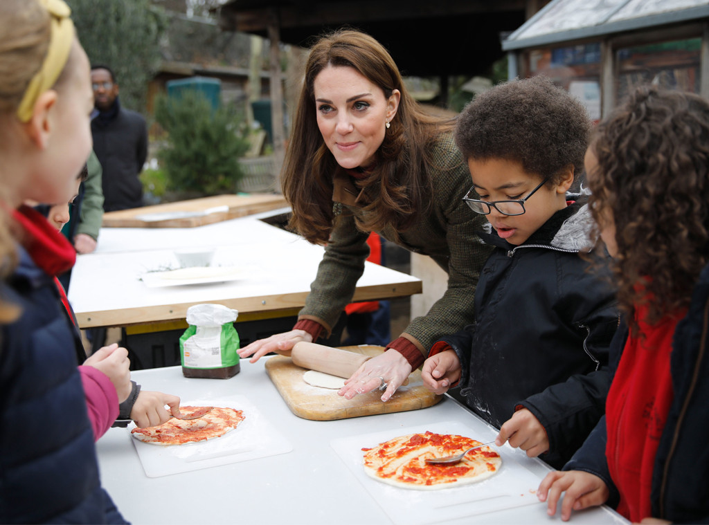 Kate Middleton, Kids, Pizza, Islington Community Garden Visit