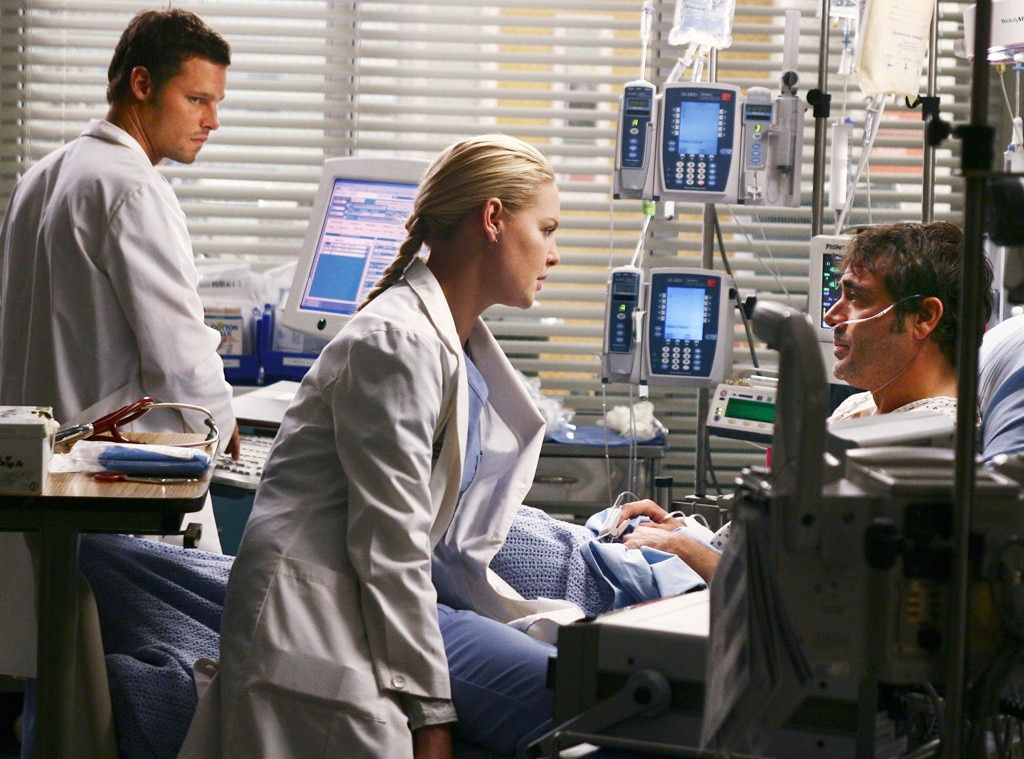 Alex/Izzie/Denny -  In season two, as Alex ( Justin Chambers ) was realizing the true nature of his feelings for Izzie ( Katherine Heigl ), he was forced to jealously fume as she fell for charismatic patient Denny Duquette ( Jeffrey Dean Morgan ). And he was left to help her pick up the pieces when Denny passed away in one of  Grey's  most heartbreaking finales ever.
