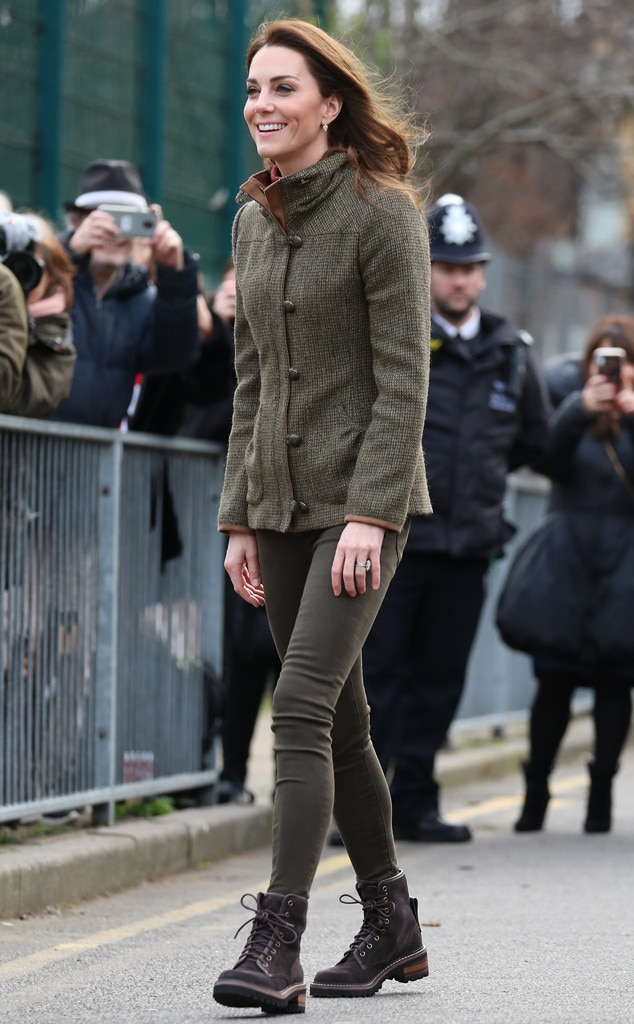 Cute and Casual -  The royal looked fabulous in a tweed jacket and boots at Islington Community Garden.