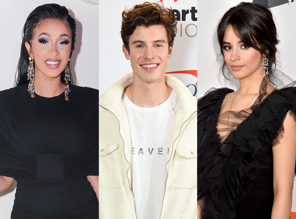 Cardi B, Camila Cabello, Shawn Mendes
