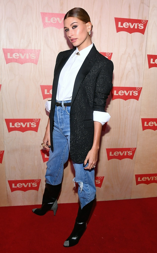 Business Chic -  Hailey rocked the smokey eye shadow look as she struck a pose at the Levi's Time Square Opening in New York City.