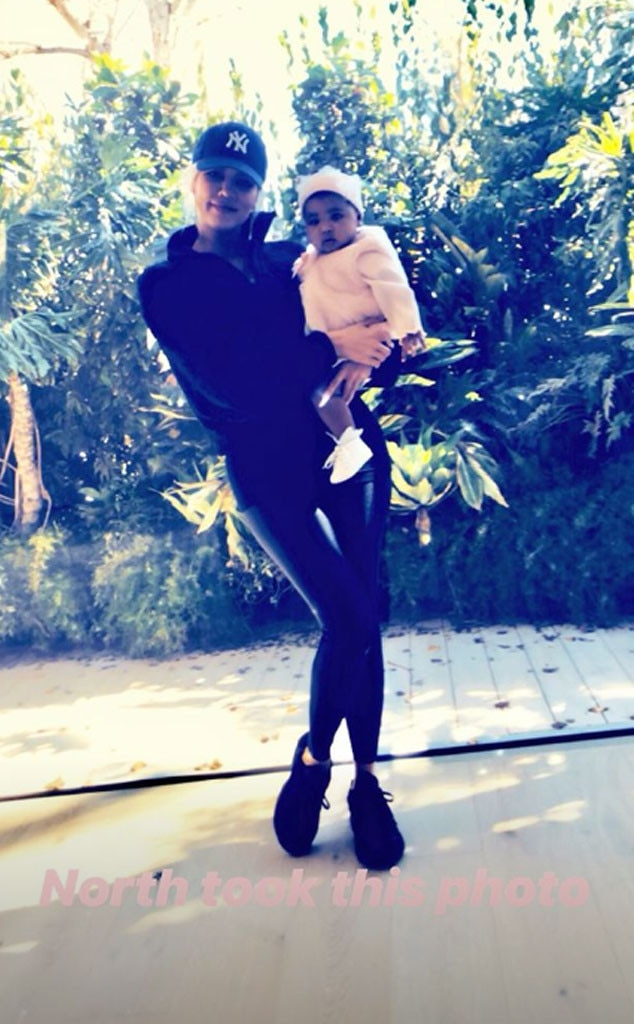 Mommy-Daughter Day -  Khloe Kardashian posed with her daughter True Thompson at the party. North West is already a skilled photographer because she gets photo credit!
