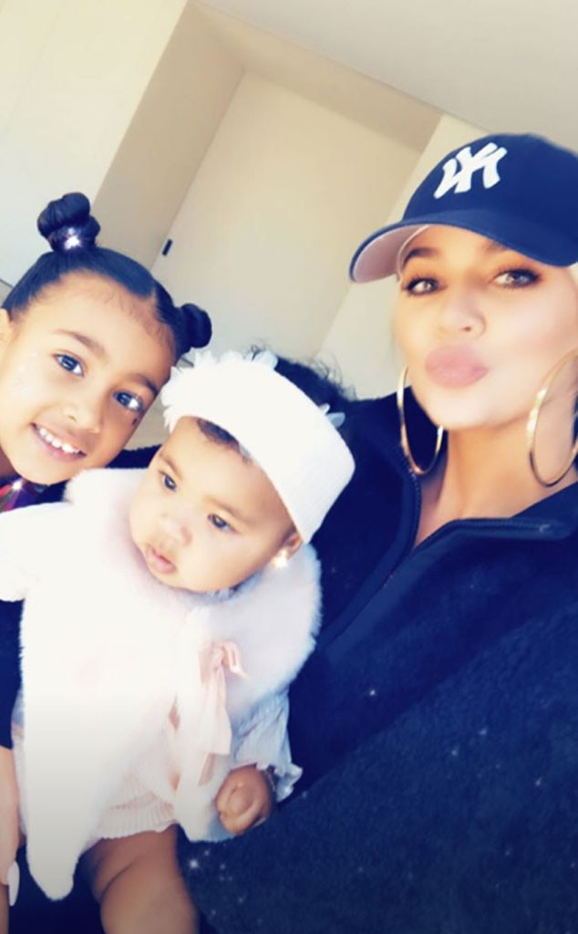Family time -  North, True and Khloe smiled for a cute selfie.