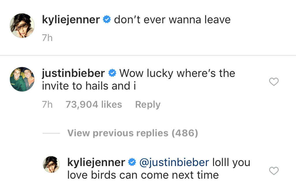 Kylie Jenner, Justin Bieber, Instagram