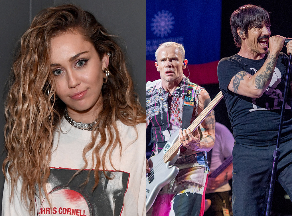 Miley Cyrus, Flea, Anthony Kiedis, Red Hot Chili Peppers