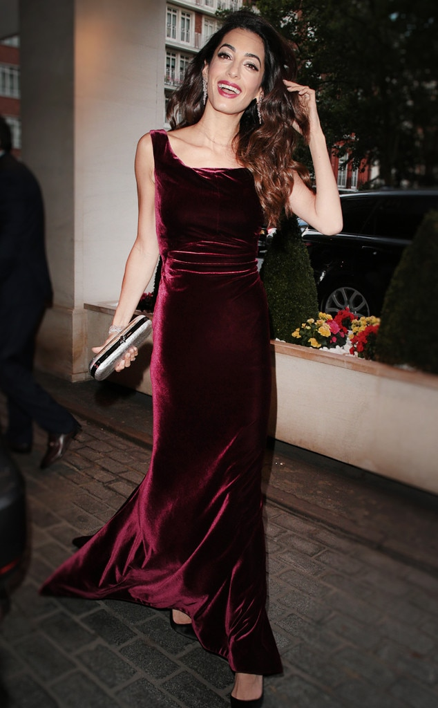 Velvet Beauty -  'Ello love! Amal donned a gorgeous wine-colored velvet dress while attending the WAAAUB UK Chapter Gala Dinner in London in the summer.