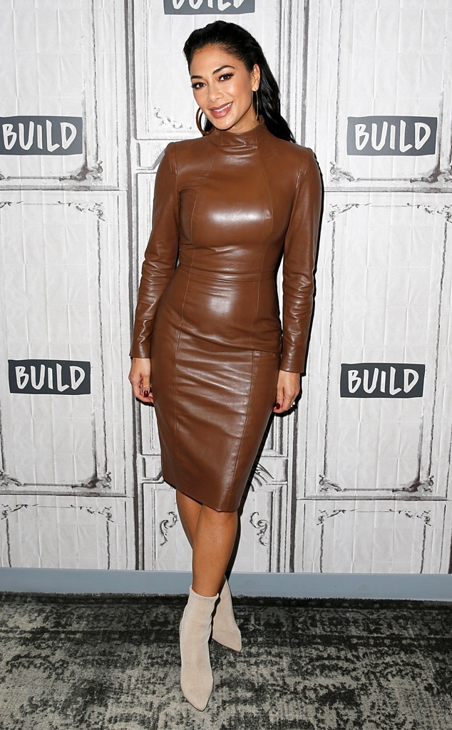 Earth Toned - The Masked Singer  panelist  Nicole Scherzinger  looks super stylish in a brown leather dress and beige boots as she arrives at the Build Studio in NYC.