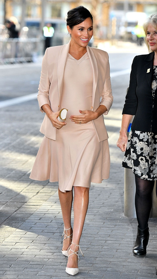 Blushing in Blush -  The Duchessvisited the National Theatre in London wearing a $4,090 Brandon Maxwell blushset. The soft but elegant dress and blazer combo was tied together with a pair of nude Aquazzura Matilde pumps and a Carolina Herrera Insignia clutch.