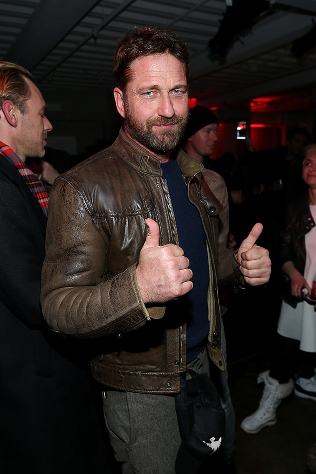 """Gerard Butler -  Thumbs up! The hunky star is clearly having a good time at the""""Wu-Tang Clan: Of Mics And Men"""" celebrationhosted by Stella Artois in the Stella Film Lounge."""
