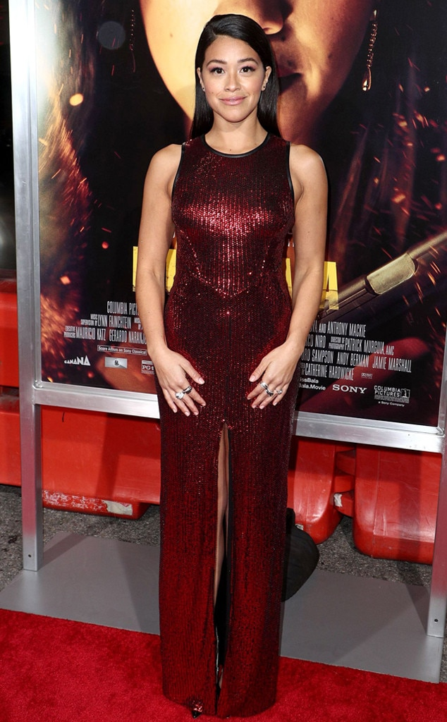 Ruby Charm -  Actress  Gina Rodriguez  looks gorgeous in a perfectly sequined red slit dress at the Los Angeles premiere of  Miss Bala .