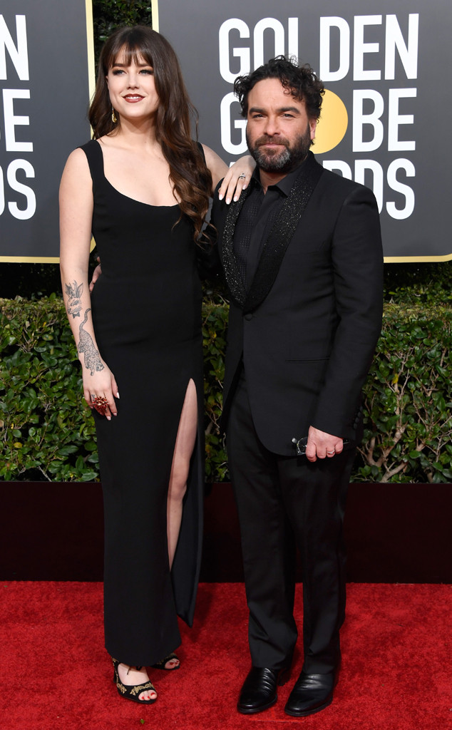 Alaina Meyer, Johnny Galecki, 2019 Golden Globes, Couples
