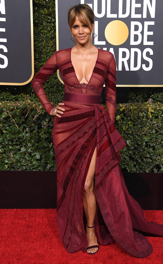 Image result for halle berry golden globes 2019 dress