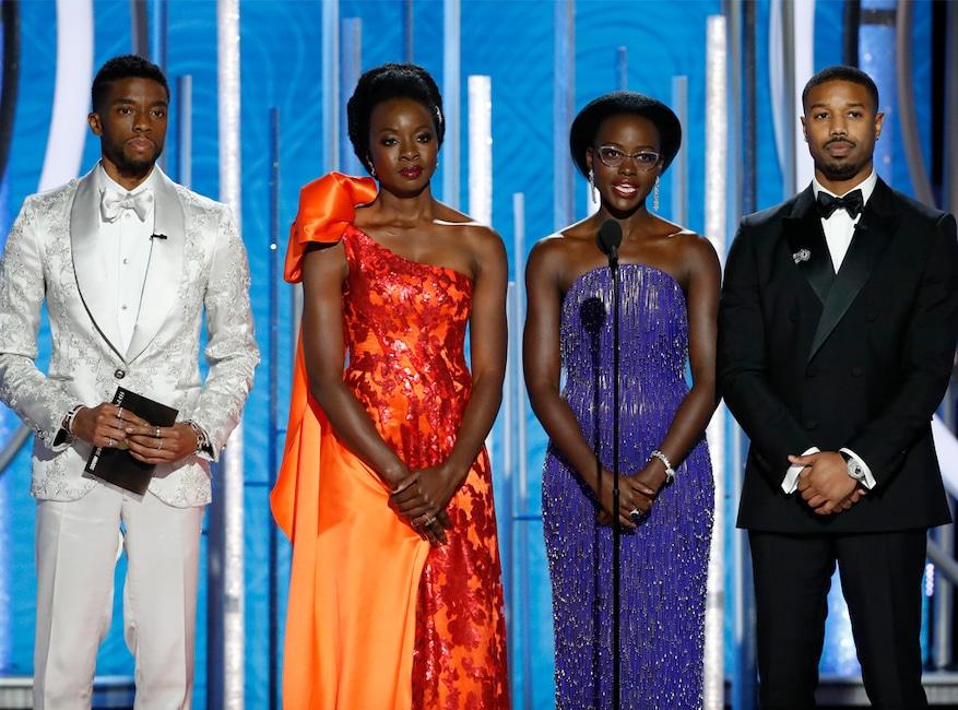 Chadwick Boseman, Danai Gurira, Lupita Nyong'o, Michael B. Jordan, Black Panther Cast, 2019 Golden Globe Awards