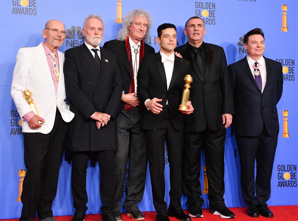 Bohemian Rhapsody Cast, Queen, Rami Malek, Graham King, Mike Meyers, 2019 Golden Globe Awards, Press Room