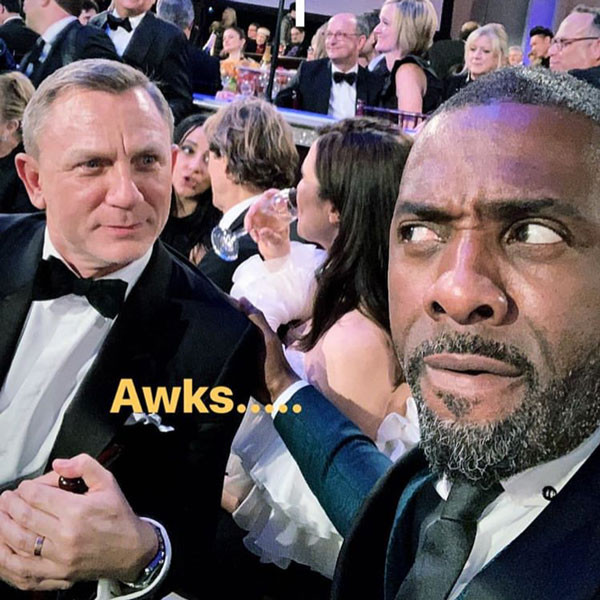 Daniel Craig Staring Down Idris Elba at the Golden Globes Is a Big Bond Mood