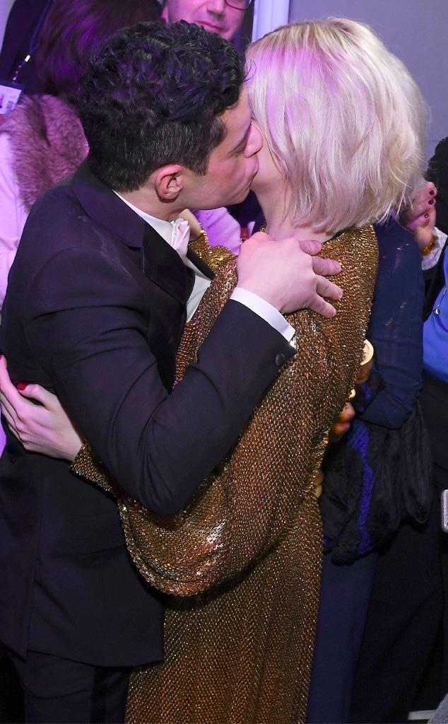 Rami Malek, Lucy Boynton, 2019 Golden Globe Awards, After Party, Kiss