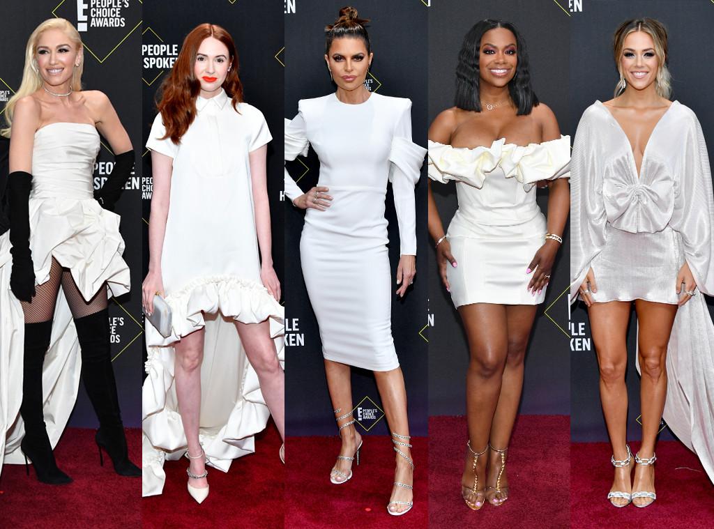 White Statement Dress, 2019 E! People's Choice Awards