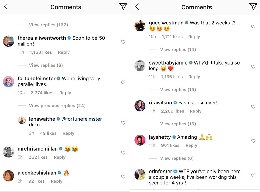 Jennifer Aniston Instagram Comments, Jennifer Aniston, Instagram