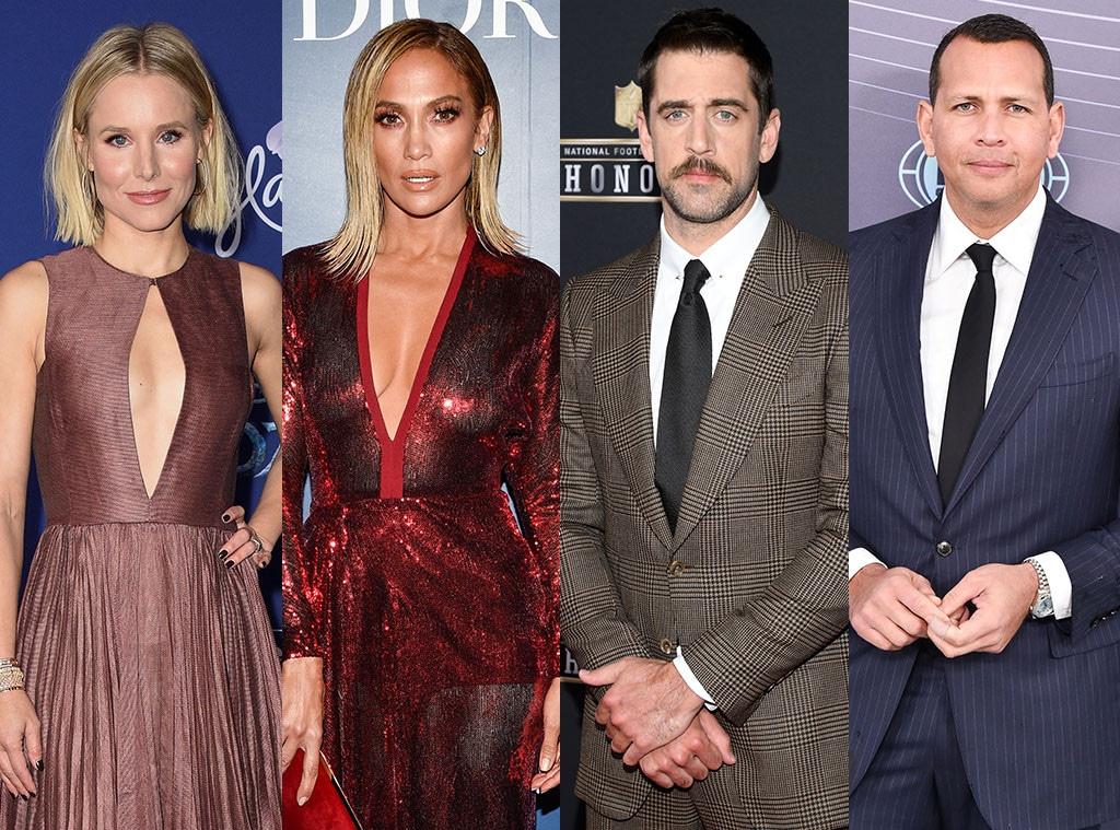 Kristen Bell, Jennifer Lopez, Aaron Rodgers, Alex Rodriguez