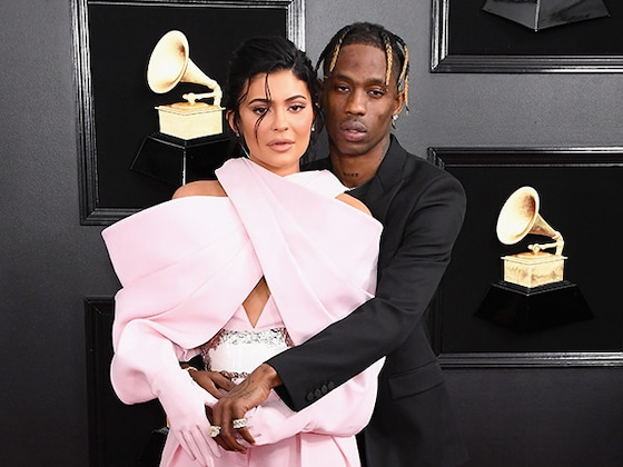 Travis Scott Has Eyes Only for Kylie Jenner as She Poses in Sexy Sheer Dress