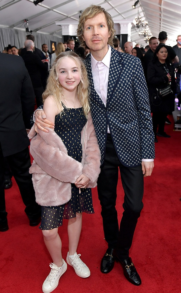 Beck and Tuesday Hansen -  Beck, nominated formultiple awards tonight for the album  Colors , brought along his daughter Tuesday for the celebration.