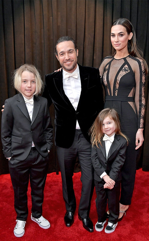 Pete Wentz, Saint Lazslo Wentz, Marvel Jane Wentz, and Meagan Camper -  Fall Out Boy's  Pete Wentz  brought the whole fam for quite a black and white moment.