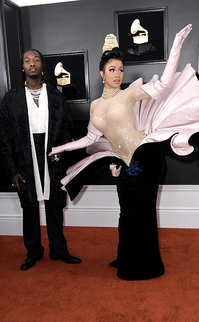 """Cardi B & Offset -  The """"Be Careful"""" rapper strikes a creative pose next to her husband."""