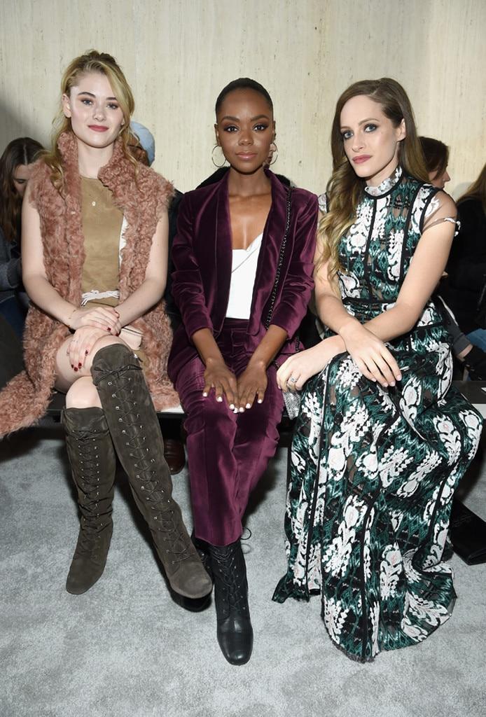 Virginia Gardner, Ashleigh Murray, Carly Chaikin, Longchamp Show, Celebs at Fashion Week, 2019