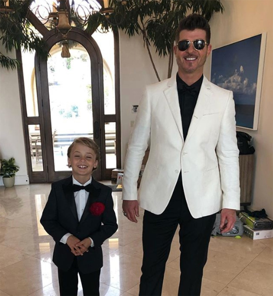 """Robin Thicke and Julian Thicke -  """"Thicke Boys! Grammys here we come,"""" Robin Thicke  said  on Instagram."""