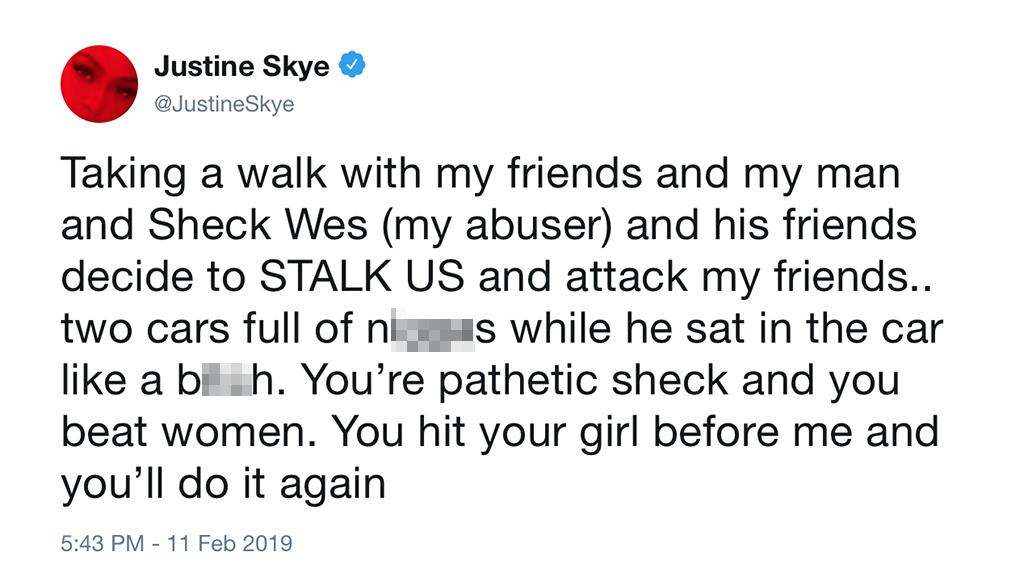 Justine Skye, Tweet, Sheck Wes