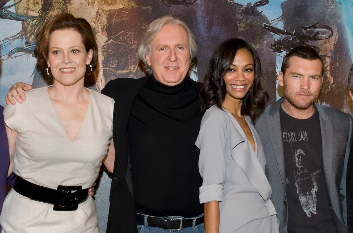 Sigourney Weaver, James Cameron, Zoe Saldana, Sam Worthington