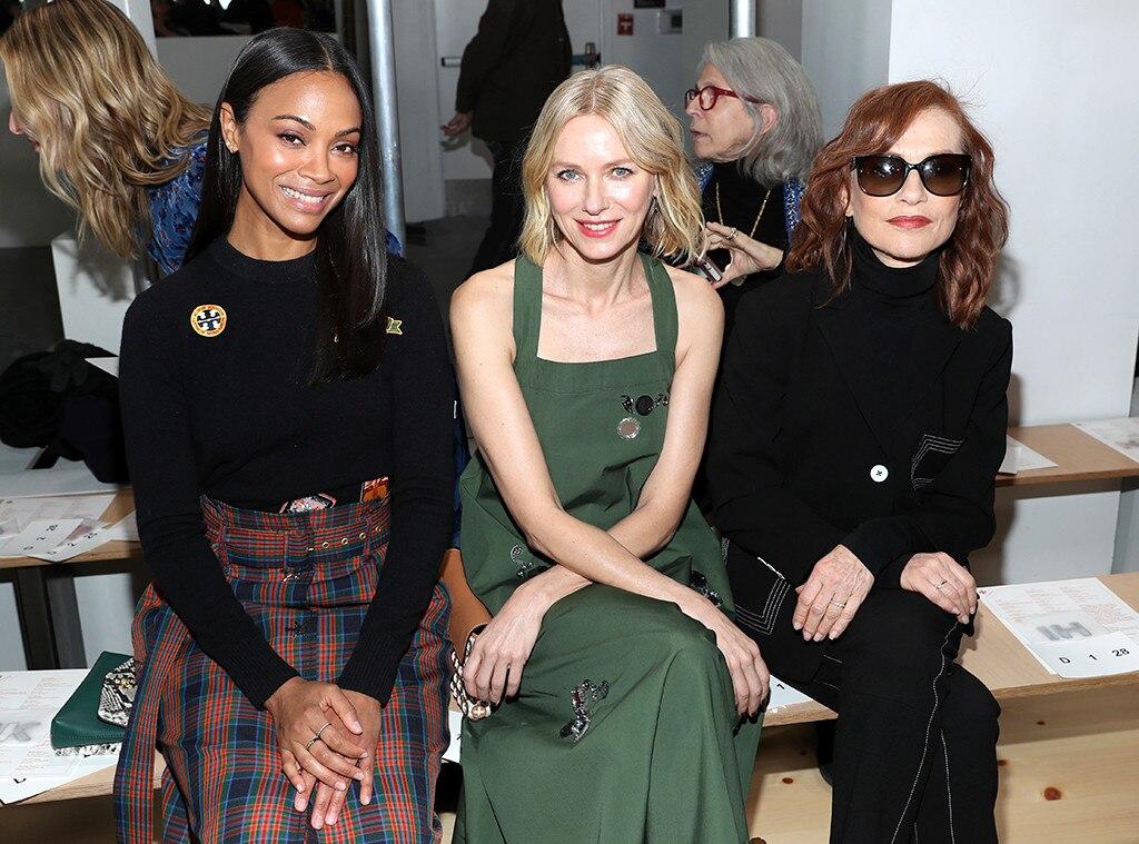 Zoe Saldana, Naomi Watts, Isabelle Huppert, Fashion Week Events, Tory Burch fashion show