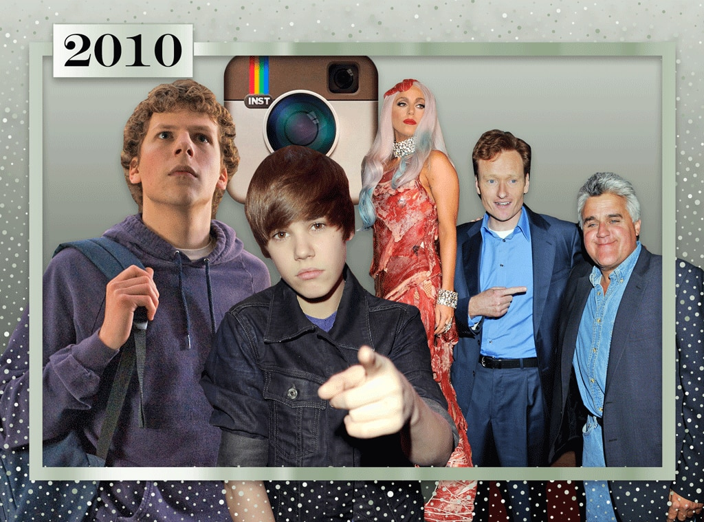 2010, Moments of the Decade: The Social Network, Instagram, Justin Bieber, Lady Gaga, Jay Leno, Conan O'Brien