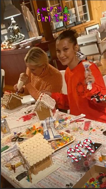 Gigi Hadid, Bella Hadid, Anwar Hadid, Dua Lipa, Yolanda Hadid, Christmas 2019