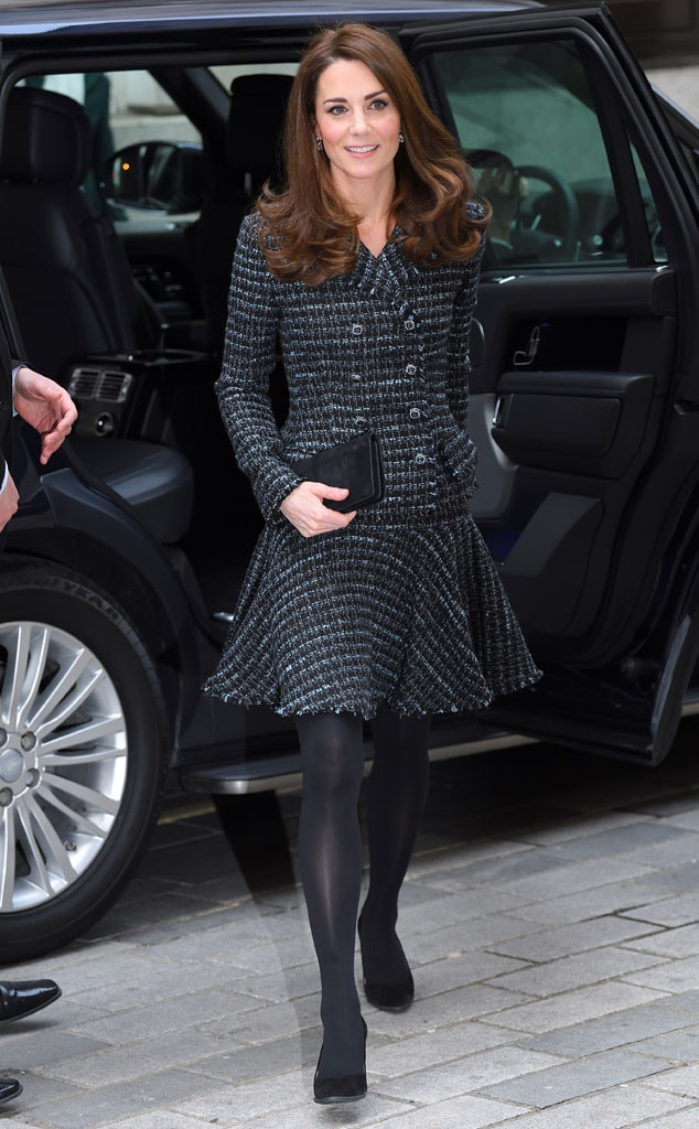 Sophisticated Suits -  The Duchess of Cambridge wore the matching blazer and skirt combo to The Royal Foundation's Mental Health in Education conference.
