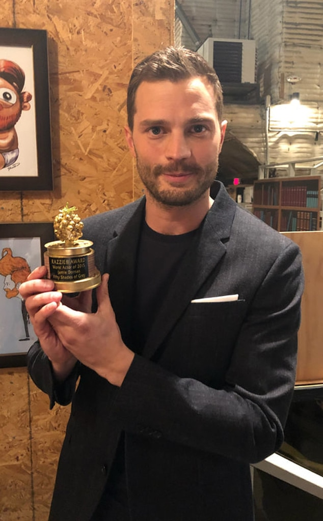 Jamie Dornan, 2016 -  The Fifty Shades Freed star accepted his award for Worst Actor and Worst Screen Combo for his work in Fifty Shades of Grey.