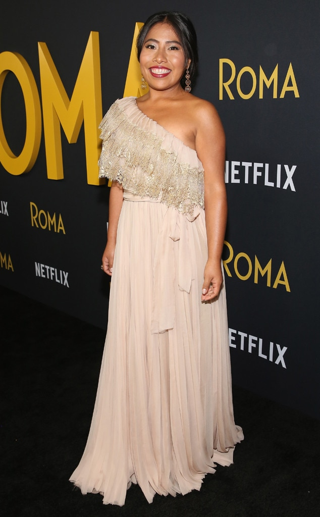 Blushing Beauty -  The Oaxacan beauty looks effortlessly elegant in a Valentino gown at the Los Angeles premiere of  Roma .