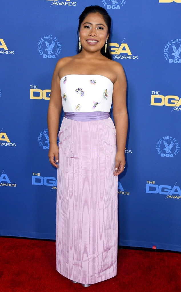 Lady in Lilac -  At the Director's Guild of America Awards, the 25-year-old beauty brings a refreshing pop of color to the red carpet with her lilac Delpozo gown.