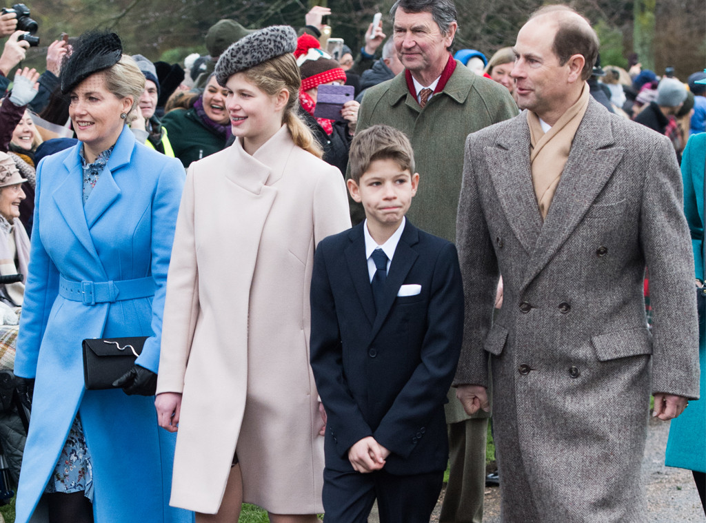 Royals Christmas - Prince Edward, Earl of Wessex, Sophie, Countess of Wessex with James Viscount Severn and Lady Louise Windsor-
